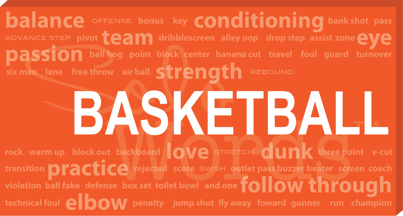 Basketball Words Canvas Large