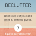 Declutter into Action | SoloWords into Action